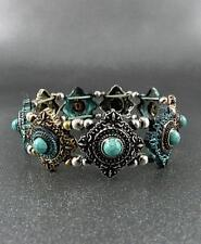Triangle Shape  Silver, Patina And Copper Tone Turquoise Bead Stretch Bracelet