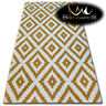 AMAZING THICK MODERN RUGS SKETCH SQUARES GOLD CREAM F998 LARGE SIZE BEST-CARPETS