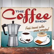 The Coffee Shop Metal Wall Sign Vintage Ad Artwork For Kitchen Diner 30x41 50171