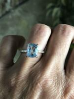4Ct Cushion Cut Aquamarine & Diamond Engagement Ring 14K Rose Gold Finish