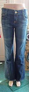 AUTHENTIC LEI DARK BLUE WASH 5-POCKET BELL BOTTOM JEANS UNIQUE SEAMS - SIZE 9
