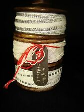 Made in India set of 3  Ribbons Total 15 yards on Wooden Spool Ivory Silver