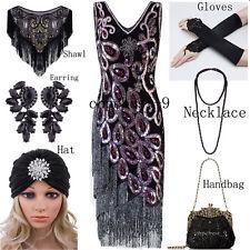 Flapper 1920s Dress Vintage Gatsby Sequin Beaded Fringe Tassel Costume Size 6-18