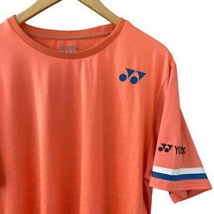 Yonex Mens XL Orange Blue Stripe Polyester Tennis Short Sleeve T-Shirt
