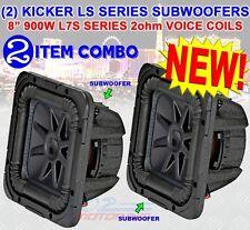 "(2) KICKER 44L7S82 CAR AUDIO SOLO-BARIC 8"" SUBWOOFER SQUARE L7S DUAL 2 Ohm NEW!"