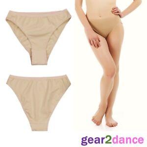 Studio Quality Girls Nude Dance Ballet Knickers High Cut Briefs Underwear Ladies