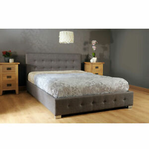 New Grey Fabric 4ft6 Double Ottoman Storage Gas End Lift Up Bed Strong Frame