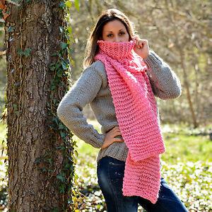 Designer Hand Knitted Wool Scarf Sweater PINK Shawl Wrap Warmer by EXTRAVAGANTZA