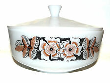 Federal 3.5 QT Brown Black Poppies Flower Casserole Bowl With Lid Milk Glass