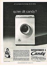 PUBLICITE ADVERTISING  1965   CANDY  lave linge superautomatique