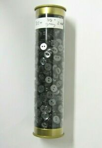 """700+ Pieces Charcoal Gray 2 hole 3/8"""" Round Buttons 14 Line"""