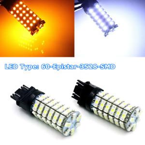 2PCS White Amber 3157 3457 3057 Signal 60SMD Backup Reverse Turn LED Light Bulb