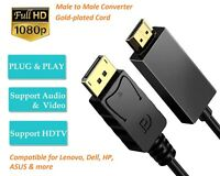 DisplayPort to HDMI Cable 1.8M / 6F Cable, DP to HDMI cable HDTV 1080P Adapter