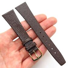 20mm Brown Genuine Lizard Leather Stainless Steel Classic Watch Band Strap