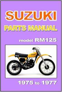 SUZUKI Parts Manual RM125 1975 1976 1977 VMX RM125M RM125S RM125A RM125B Catalog