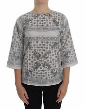 NWT $320 DOLCE & GABBANA D&G Gray 3/4 Sleeve Blouse Tunic T-shirt IT36 / US2 /XS