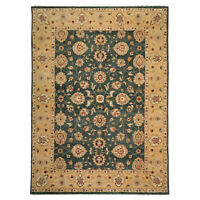 """9'10"""" x 14'2"""" Hand Knotted 150 KPSI Agra 100% Wool Oriental Area Rug Teal Green"""