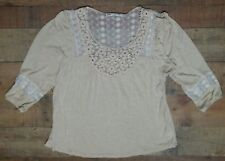Jolt Shirt Small Hippie Blouse Boho Lace Ivory 3/4 Sleeves