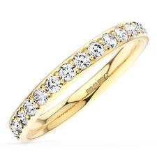 3mm Grain Set Round Diamonds Half Eternity Wedding Ring in18K Yellow Gold