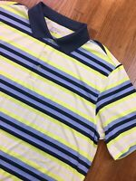 Nike Mens Tour Performance Dri Fit Striped Polo Golf Shirt Size XL Neon Stretch