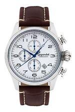 Uhr Armbanduhr Herrenuhr Chronograph Gigandet G41-003 Weiß Silber Lederband
