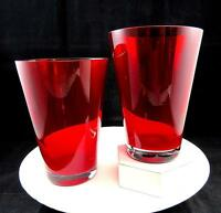 """STUDIO ART GLASS RED WITH CLEAR BASE 2 PIECE 5 3/4"""" CONICAL VASES"""