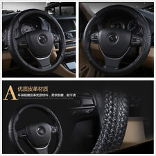 Black PU Leather 38cm 15'' Comfortable Car Steering Wheel Cover For All Seasons