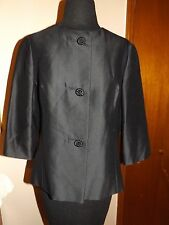 Vintage Marie Leavell black short boxy jacket 3/4 sleeve woven covered buttons