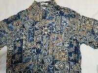 Pierre Cardin Geometric Fish Hawaiian Shirt 100% Rayon Size M