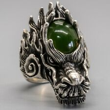 Dragon Ring 925 silver Jade Biker Gothic Mythical Thrones Magical