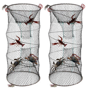 2pcs Large NET CRAB TRAP LOBSTER EEL SHRIMP CRAYFISH BAIT  FISHING POT BASKET