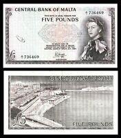 MALTA 5 £  Pounds 1968 P30a  VF +  / QE II  prefix : A/1