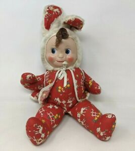 VTG Gund? Rubber Face Bunny Red Outfit Easter Stuffed Animal Plush Doll Toy M21