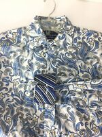 David Smith Australia Large Mens Blue Paisley Sport Shirt Flip Cuffs Cotton New