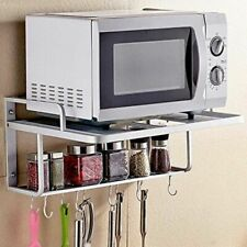 Double Bracket Alumimum Microwave Oven Wall Mount Shelf With Removable Hook
