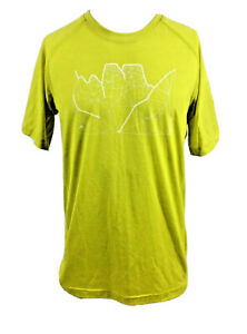 Adidas T-Shirt Mens Medium Chartreuse Green Geometric Short Sleeve SAMPLE