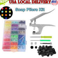 375 Set DIY Craft KAM Snaps T5 Snap Starter Plastic Poppers Fasteners +1 Pliers