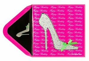 Papyrus Bling High Heel Shoe Happy Birthday Greeting Card - pink/sliver