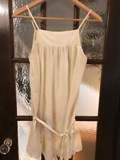 FRENCH CONNECTION EMBROIDERED SEMI SHEER CREAM COTTON MINI DRESS SIZE 8
