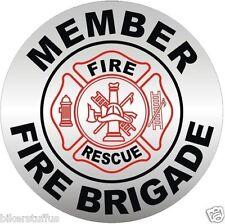FIRE BRIGADE MEMBER HARD HAT - FD HELMET STICKER/DECAL BUMPER STICKER
