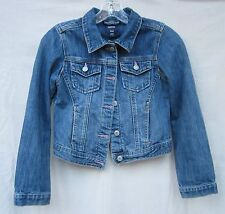 GAPKIDS Classic Blue Jean Jacket Pink detail on Button Holes Preowned Size Large