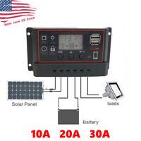 10/20/30A PWM Solar Panel Battery Regulator Charge Controller Dual USB 12V 24V