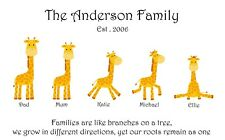 Personalised giraffe family picture. Animal family picture.