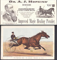 Magic Horse Racing Cure Currier & Ives St Julien Trotting King Remedy Trade Card