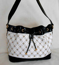 THE FIND BLACK & WHITE PATENT LEATHER TOTE/SHOULDER BAG, GOLD STUDS, ***MINT***