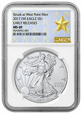 2017 (W) American Silver Eagle NGC MS69 ER Struck at West Point Label SKU45059