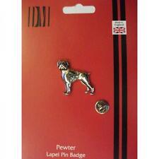 Plata Boxer Mascota Perro De Peltre Pin De Solapa Insignia hecha a mano en Inglaterra Perros Boxers Nuevo