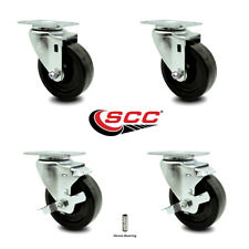 "Phenolic Tp Swivel Caster Set of 4 w/4"" Wheels - 2 w/Brakes"