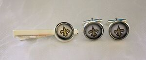 New Orleans Saints Cufflinks & Tie Clip Set made from Football Trading Cards