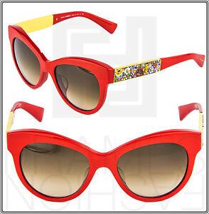 Dolce & Gabbana 4215 Glass Mosaic Floral Sunglasses Cat Eye Red Gold DG4215F